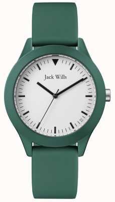 Jack Wills | gents pulseira de borracha verde | mostrador branco | JW009GRGR