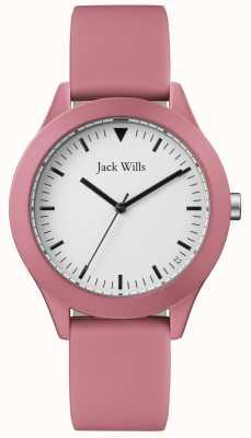 Jack Wills | pulseira de borracha rosa gents | mostrador branco | JW009JWPK