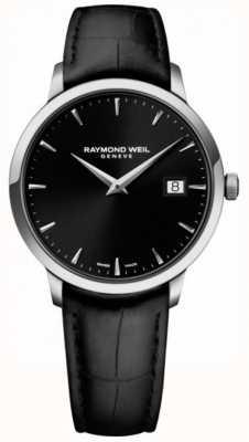 Raymond Weil | mens toccata couro preto | mostrador preto | 5485-STC-20001