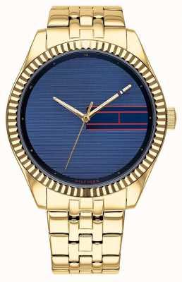 Tommy Hilfiger | aço inoxidável dourado para mulher | mostrador azul | 1782081