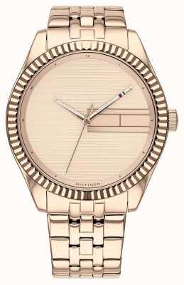 Tommy Hilfiger | pulseira de aço inoxidável de ouro rosa das mulheres | discagem rosa de ouro 1782082