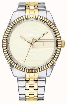 Tommy Hilfiger | pulseira de aço inoxidável de dois tons para mulher | mostrador de champanhe 1782083