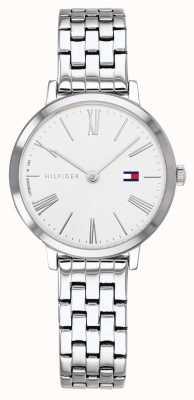 Tommy Hilfiger   pulseira de aço inoxidável para mulher   mostrador branco   1782056
