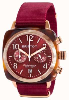 Briston Pulseira de nato vermelho de ouro clássico acetato de clubman 15140.PRA.T.8.NBDX