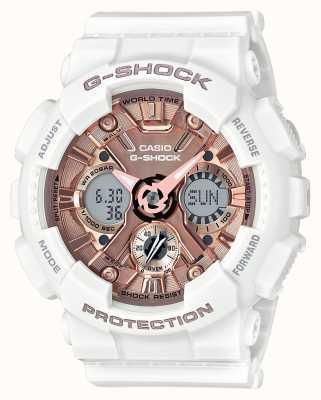Casio | g-shock branco e ouro rosa | analógico e digital | GMA-S120MF-7A2ER