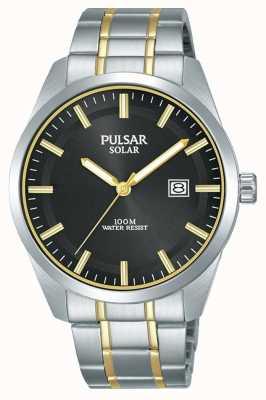 Pulsar Mens solar | pulseira de aço inoxidável bicolor | mostrador preto PX3169X1