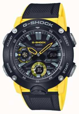 Casio | protetor de núcleo de carbono g-shock | pulseira amarela preta | GA-2000-1A9ER