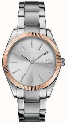 Lacoste Dial de prata pulseira de aço inoxidável das mulheres parisienne 2001082