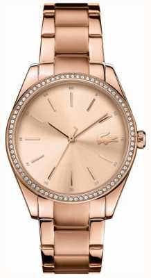 Lacoste Womens parisienne subiu ouro pvd banhado a pulseira de aço 2001084