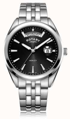 Rotary | henley dos homens | mostrador preto | pulseira de aço inoxidável | GB05290/04
