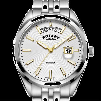 Rotary | henley dos homens | mostrador branco | pulseira de aço inoxidável prata GB05290/70