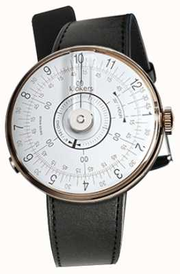 Klokers Klok 08 cabeça de relógio branco cinta de cetim preto único KLOK-08-D1+KLINK-01-MC1