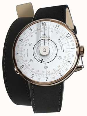 Klokers Klok 08 relógio branco cabeça mat preto cinta dupla KLOK-08-D1+KLINK-02-380C2