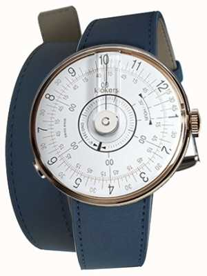 Klokers Klok 08 relógio branco cabeça azul escuro alça dupla KLOK-08-D1+KLINK-02-380C3