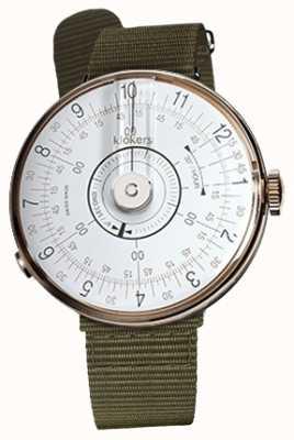 Klokers Klok 08 branco relógio cabeça líquen verde têxtil única cinta KLOK-08-D1+KLINK-03-MC2