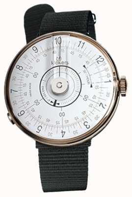Klokers Klok 08 cabeça de relógio branco preto cinta única têxtil KLOK-08-D1+KLINK-03-MC3