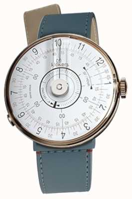 Klokers Klok 08 cabeça de relógio branco blue jean strait single strap KLOK-08-D1+KLINK-04-LC10