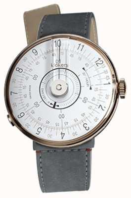 Klokers Klok 08 branco relógio cabeça cinza alcantara estreito cinta única KLOK-08-D1+KLINK-04-LC11