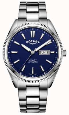 Rotary | henley dos homens | moldura serrilhada | mostrador azul | aço inoxidável GB05380/05