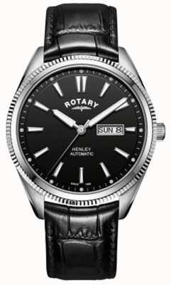 Rotary | henley dos homens | moldura serrilhada | mostrador preto | couro preto GS05380/04