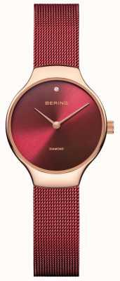 Bering | relógio de caridade das mulheres | alça de malha vermelha | mostrador vermelho | 13326-CHARITY