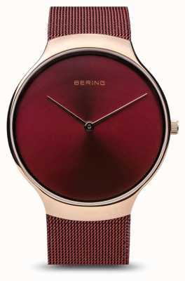 Bering | relógio de caridade das mulheres | alça de malha vermelha | mostrador vermelho | 13338-CHARITY