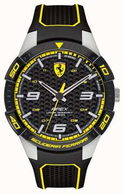 Scuderia Ferrari | ápice dos homens | pulseira de borracha preta | mostrador preto / amarelo | 0830631