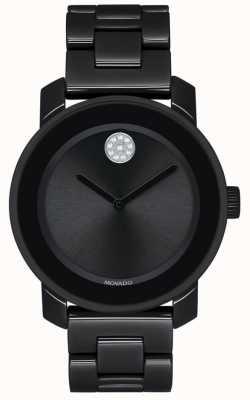 Movado | negrito | pulseira de chapeamento preto pvd | mostrador preto | 3600535