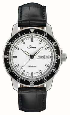Sinn Couro do jacaré do relógio do clássico do st sa iw 104.012 BLACK EMBOSSED LEATHER BLACK STITCHING