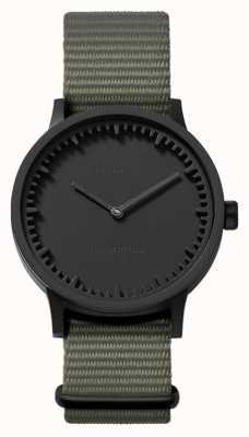 Leff Amsterdam | relógio de tubo | t32 | preto | pulseira cinza da OTAN | LT74252