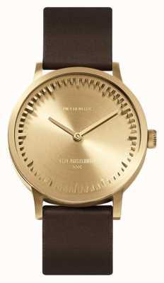 Leff Amsterdam | relógio de tubo | t32 | latão | pulseira de couro marrom | LT74323