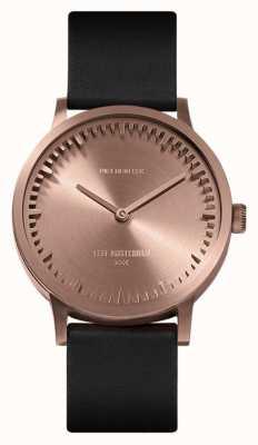 Leff Amsterdam | relógio de tubo | t32 ouro rosa | pulseira de couro preto | LT74414