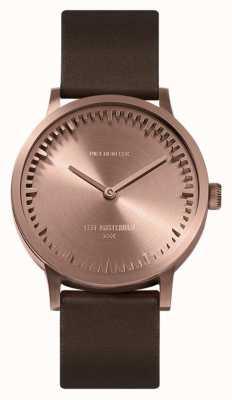 Leff Amsterdam | relógio de tubo | t32 ouro rosa | pulseira de couro marrom | LT74424