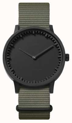 Leff Amsterdam | relógio de tubo | t40 | preto | pulseira cinza da OTAN | LT75252