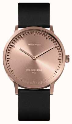 Leff Amsterdam | relógio de tubo | t40 | ouro rosa | pulseira de couro preto | LT75414