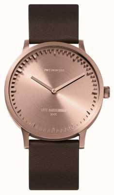 Leff Amsterdam | relógio de tubo | t40 ouro rosa | pulseira de couro marrom | LT75424