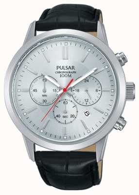 Pulsar | cronógrafo mens | mostrador prateado | pulseira de couro preto | PT3749X1