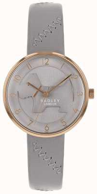 Radley | pulseira de couro cinza das mulheres | mostrador cinzento do cão gravado | RY2804