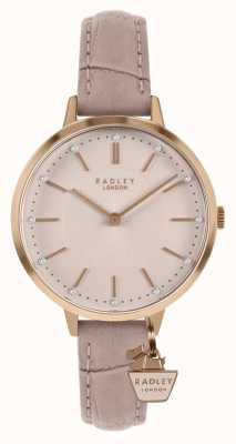 Radley | pulseira de couro nude das mulheres | mostrador rosa | RY2802