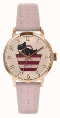 Radley | pulseira de couro leve rosa para mulher | cão impresso no mostrador de saco RY2794