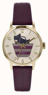 Radley | pulseira de couro roxo das mulheres | cão impresso no mostrador de saco | RY2796