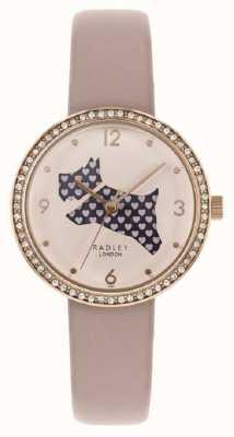 Radley | pulseira de couro rosa para mulher | seletor de cachorro cortado | conjunto de cristal RY2806