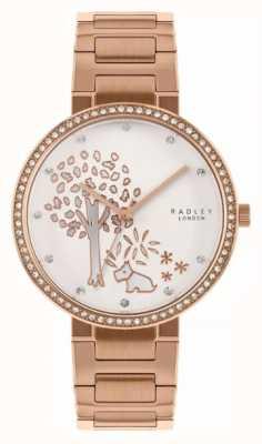Radley | pulseira de aço ouro rosa para mulher | mostrador de motivo de árvore branca | RY4388