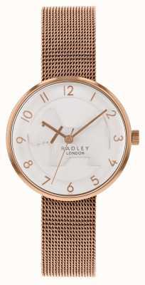 Radley | bracelete de malha de ouro rosa para mulher | mostrador de cão em relevo branco | RY4392