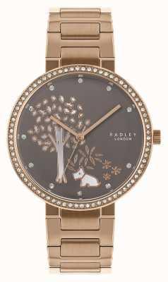 Radley | pulseira de aço ouro rosa para mulher | mostrador branco / cinza | RY4386