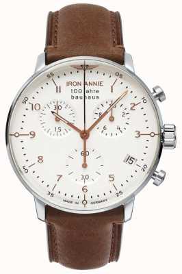 Iron Annie Bauhaus crono | mostrador branco | Couro Marrom 5096-4