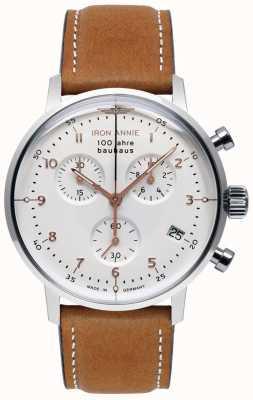 Iron Annie Bauhaus | chrono | mostrador branco | Couro Marrom 5096-4