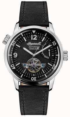 Ingersoll | mens nova orleans | pulseira de couro preto | mostrador preto | I07801