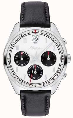 Scuderia Ferrari Mens abetone pulseira de couro preto assistir mostrador branco 0830569