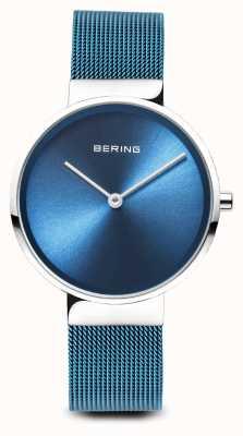 Bering Mulheres   clássico pvd azul chapeado pulseira de malha de aço 14531-308
